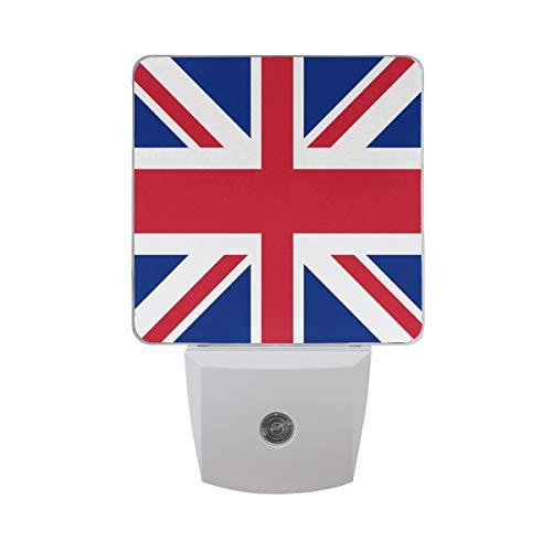 (2 Pack Plug-in LED Night Light United Kingdom UK Flag Lamp with Dusk to Dawn Sensor for Hallway)