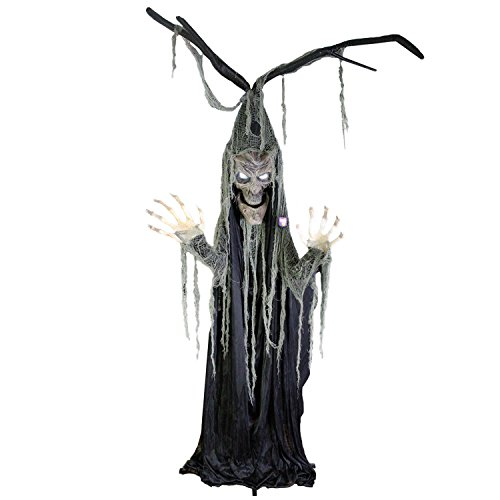 Halloween Haunters Animated Talking Tree Man Prop Decoration – Stands 7 Feet Tall, Speaks 3 Haunting Phrases, Light Up Eyes – Battery Operated