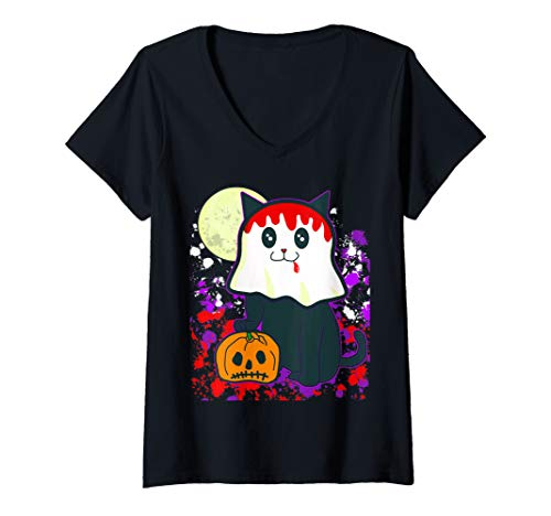 Womens Yami Kawaii Creepy Ghost Black Cat & Pumpkin Halloween V-Neck T-Shirt -