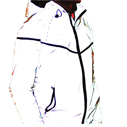 Edgogvl Mens Outwear 3M Reflective Zipper Hooded Windbreaker Lightweight Running Jacket (US XL (Tag XXXL), Grey5)