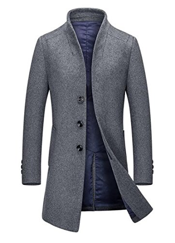 Cruiize Men's Casual Single Breasted Slim Winter Trenchcoat Wool Blend Peacoat Gray Large by Cruiize