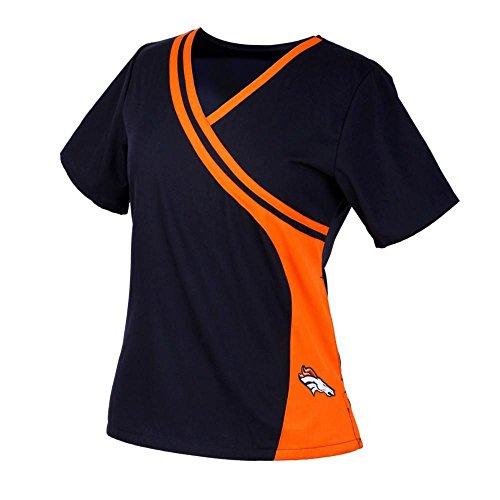 Denver Broncos Women's Two Tone Mock Wrap Scrub Top (L) Navy Blue Denver Broncos Womens Top