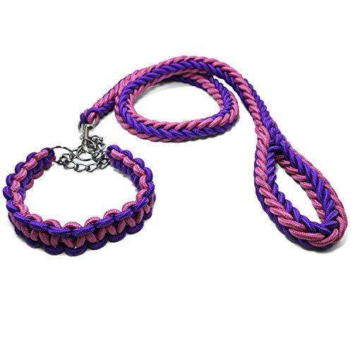 Yzsfirm 4ft Heavy Duty Braided Dog Leashes and Collar Set Black Chain Durable Training Leash for Medium Large Dogs