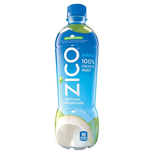 ZICO Natural 100% Coconut Water Drink, No Sugar Added Gluten Free, 16.9 fl oz, 12 Pack (Mini Milk Chocolate Bottle)