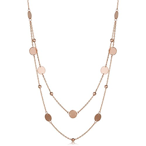 14k Rose Gold Round Discs And Beads Layered Necklace ()
