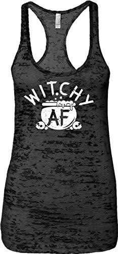 Blittzen Ladies Tank Witchy AF - Halloween Pun Funny Joke, XL, Black]()