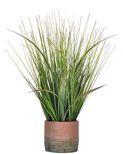 Artificial 16 inches Green PVC Grass Potted Plant, Authentic Looking Fake River Grass with Planter