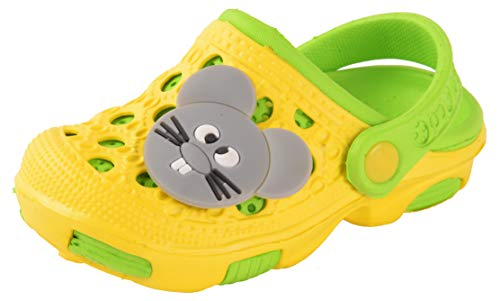 Yellow Bee Rat Detailed Clogs for Boys, Green