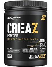 Body Attack CREAZ Powder – ren kreatinpulver – vegan och hög dosering – 1 x 500 g