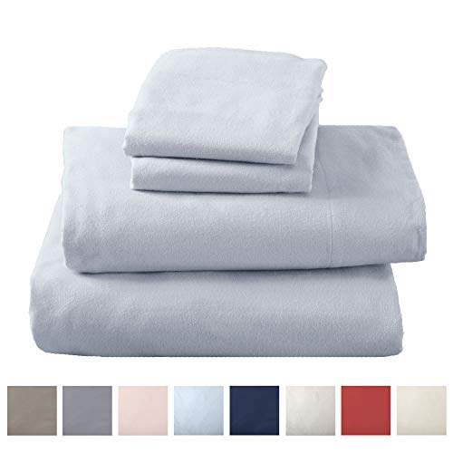 Great Bay Home Extra Soft 100% Turkish Cotton Flannel Sheet Set. Warm, Cozy, Lightweight, Luxury Winter Bed Sheets in Solid Colors. Nordic Collection (Full, Pearl Blue) (Sale Sheets Flannel)