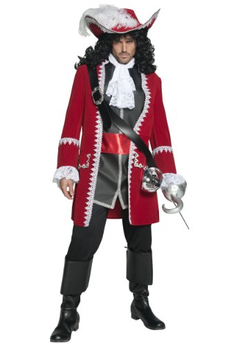 Captain Black Pirate Costume - Smiffy's Men's Authentic Pirate Captain Costume, Jacket, pants, Top attached belt and Cravat, Pirate, Serious Fun, Size M, 36174