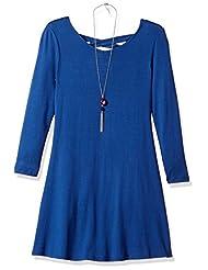 Amy Byer Big Girls\' Solid Knit Lace up Back Dress, Blue, M