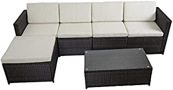 FDW PE Wicker Outdoor Patio 6-Pc. Sofa Set