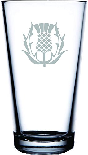 IE Laserware Scottish Thistle permanently etched on Pub Glass
