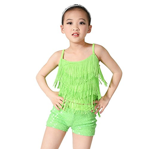 MiDee Girl's Dance Costume Outfits 2 Pieces Camisole Tassels Sequins Shorts (IC, Apple Green) - Green Sequin Dance Costumes