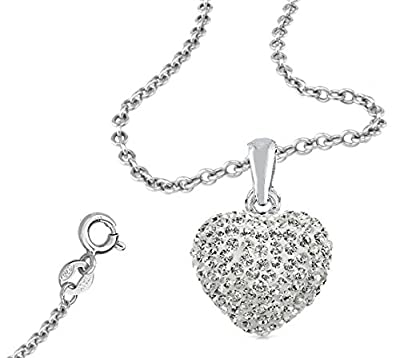 925 Sterling Silver Cubic Zirconia Cz Crytals Heart Pendant Large 15mm Heart