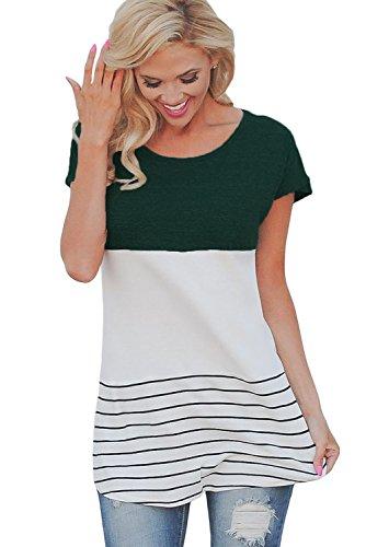 New verde a blocchi di colore a righe camicetta estate camicia top casual  Wear taglia UK