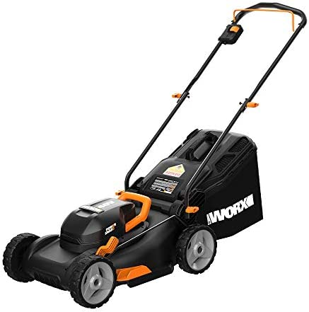 Worx WG743 40V PowerShare 4.0Ah 17 Lawn Mower w Mulching Intellicut 2x20V Batteries ,Black and Orange