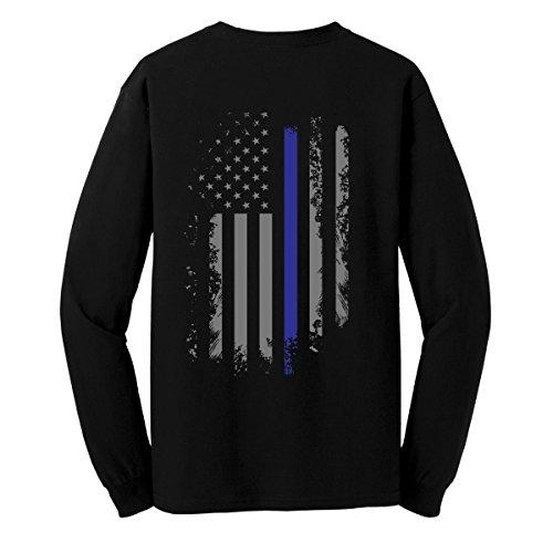 GunShowTees Men's Back The Blue/USA Flag Police Lives Matter Long Sleeve T-Shirt, X-Large, Black (T Shirt Police State)