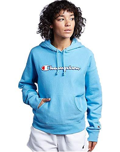 Champion Life Women's Reverse Weave Pullover Hood (Large, Active Blue/Champion Chenille Script)