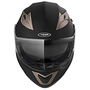 Motorcycle Modular Full Face Helmet DOT Approved - YEMA YM-925 Motorbike Moped Street Bike Racing Crash Helmet with Sun Visor for Adult, Men and Women - Matte Black, Large