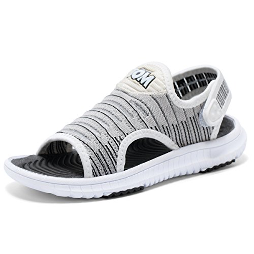 Talking Tom Boys Sandals Open Toe Sports Water Sandals Summer Shoes Kids Athletic Outdoor Strap Shoes White-Grey 10