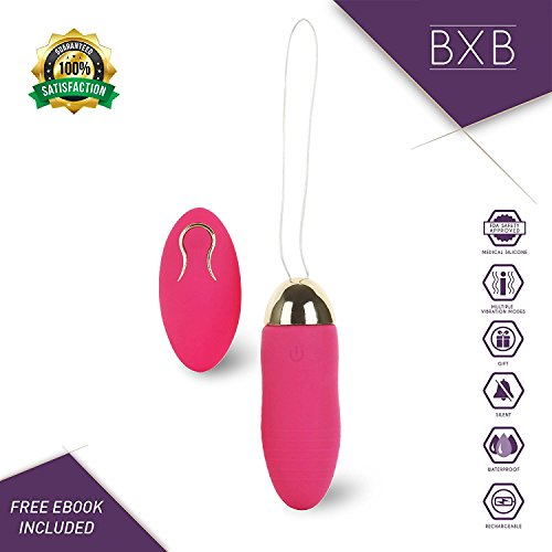 Egg Shaped Massager By Bxb    10X Speed Patterns    Cordless   Remote Controlled   Quick Charging   Hypoallergenic   Waterproof   Pain Relief    Strawberry Red