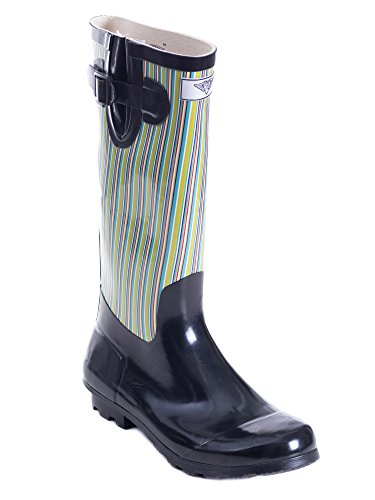 Per Sempre Giovane - Donna Wellie Rain Boot Retro Nero