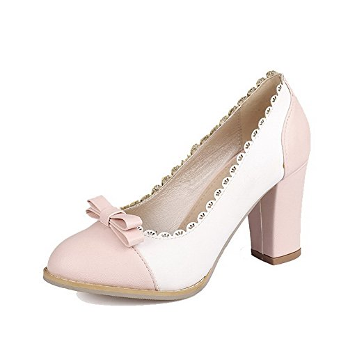 High Pumps Shoes Assorted Women's Pink Closed Color AmoonyFashion Toe Heels gHXvnga