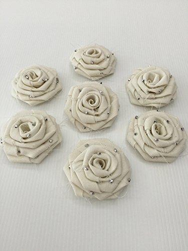 10 Pcs/lot Cream Fabric Rose Vintage 2.5