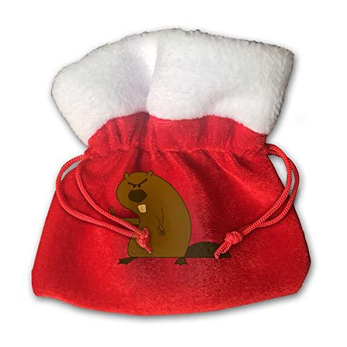 CYINO Personalized Santa Sack,Angry Beavers Portable Christmas Drawstring Gift Bag (Red) -
