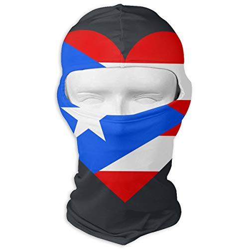 Love Puerto Rico Flag Ski Mask Sun UV Protection Dust Protection Wind-Resistant Face Mask for Running Cycling Fishing Neck Scarf Sunscreen Hats
