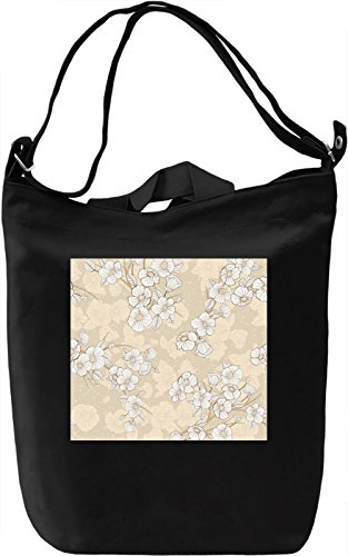 White Flowers Print Borsa Giornaliera Canvas Canvas Day Bag| 100% Premium Cotton Canvas| DTG Printing|