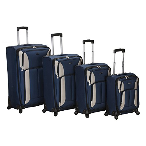 Rockland Luggage Impact Spinner 4 Piece Luggage Set, Navy by Rockland