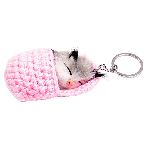 Chevrolet Handbag - Pausseo Sleeping Kitten Fur Ball Cell Phone Car Keychain Pendant Handbag Backpack Crossbody Charm Unique Elegant Key Ring for Men and Women (Pink)