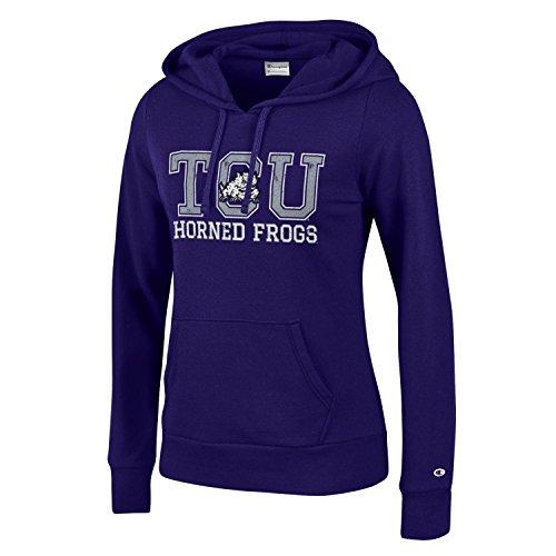 Champion NCAA Women's Comfy Fitted Sweatshirt University Fleece Hoodie Tcu Horned Frogs Small -