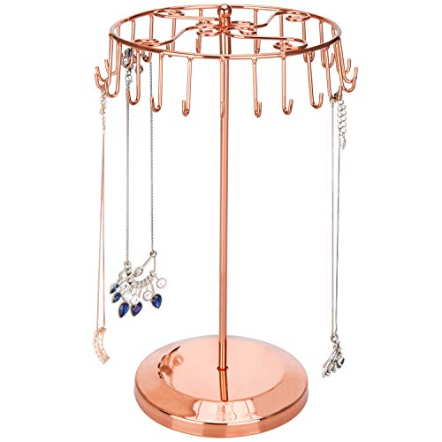 MyGift 14-Inch Copper-Tone Scrollwork Necklace Tower with Rotating Carousel -