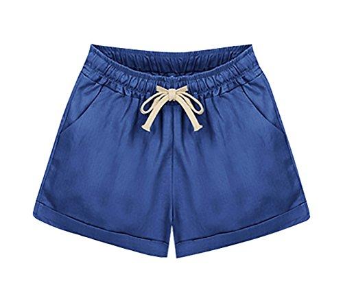 Elegante Solido Woman Coulisse Moda Donna Casuali Pantaloni Taglie Estivi Forti Corta Blunavy Shorts Pantaloncini Larghi 0zBqfnExwx