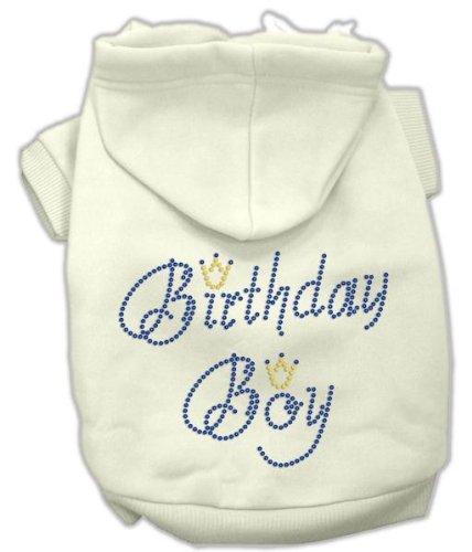 Mirage Pet Products 12-Inch Birthday Boy Hoodies, Medium, Cream Birthday Boy Hoodies Cream