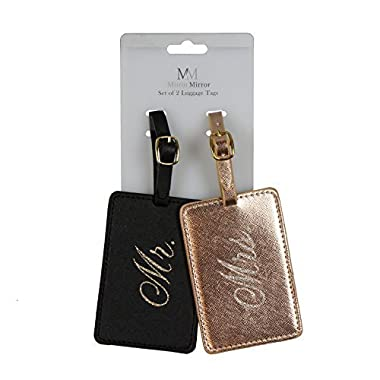 Oakstree Gifts Black and Metallic Bronze Coloured Mr & Mrs Luggage Tags