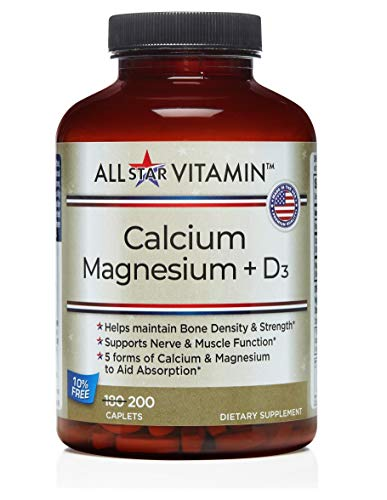 Calcium 1000MG / Magnesium 500MG + Vitamin D3, 2 Per Day, 200 Caplets, Gluten Free, Osteoporosis, Bone Density, Absorbable, All-Star Vitamin