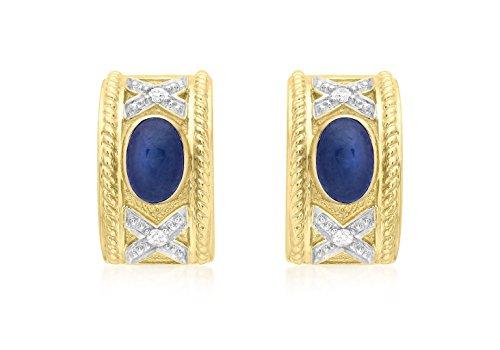 Jewellery World Bague en or jaune 9carats Diamant et Saphir Boucles d'oreilles Demi bande