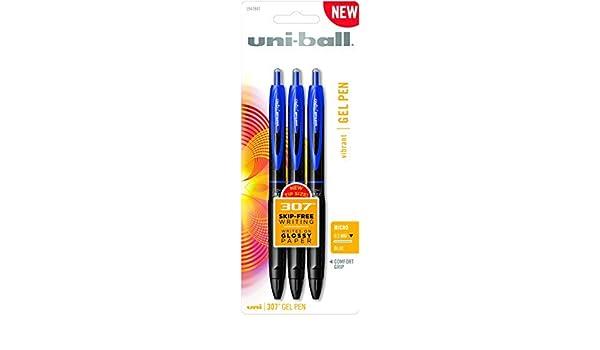 Uni-Ball 307 Gel Pens, Micro Point, Blue, 3-Pack (1947847) by Uni-ball: Amazon.es: Oficina y papelería