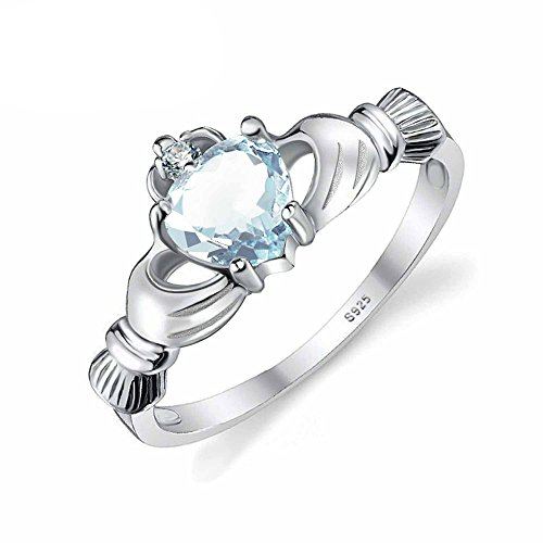 Halo 4 Marine Costume (PSRINGS Rings Size 4-10 Romantic Love Heart Aquamarine Jewelry 0.4ct Solid 925 Sterling Silver 7.0)