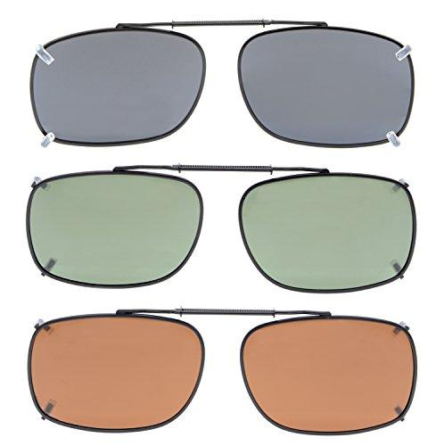 on G15 polarizadas paquete Mix gafas Clip 3 Marrón 54x37MM Eyekepper sol de Gris Lente de Rqnf78xWEZ
