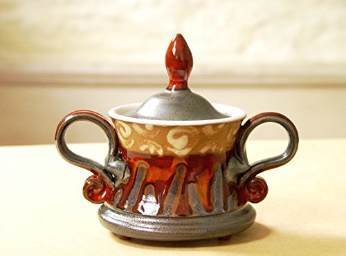 Cute Pottery Sugar Bowl with Lid, Unique Handmade Gift