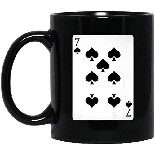 Seven of Spades Costume Playing Card Poker Halloween 11 oz. Black Mug