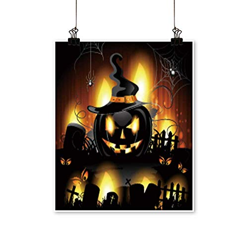 Canvas Print Wall Art Halloween Background with Cemetery and Pumpkin Canvas Texture Decoration,28