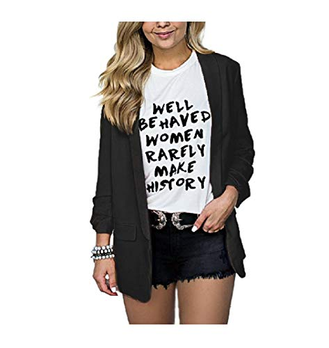 HEFASDM Women Fall Winter Fold-Collar/Lapel Pork Chop Pocket Jackets Black S ()