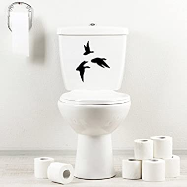 StickAny Bathroom Decal Series Hunting Geese Sticker for Toilet Bowl, Bath, Seat (Black)